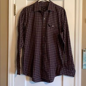 Van Heusen button down purple plaid shirt.